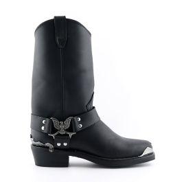 Grinders New Eagle Hi Black Mens Leather Cowboy Biker Ankle Western Boots Shoes